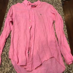 Ralph Lauren Pink Linen Button-down Shirt